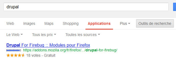 Google recherche applications