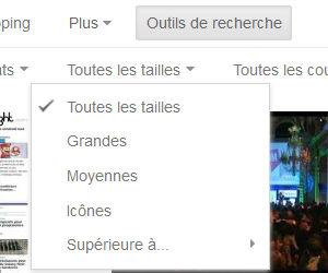 Recherche Google image filtre taille