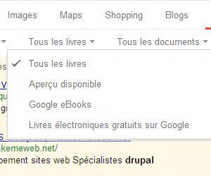 Google recherche de livre, filtre par type
