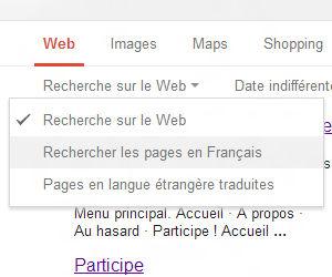 Recherche Google filtre langue