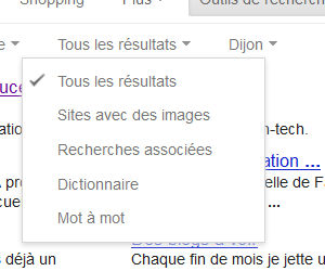 Recherche Google filtre type