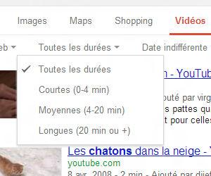 Google recherche de vidéos filtre durée