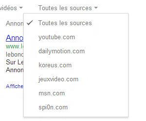 Google recherche vidéo par source