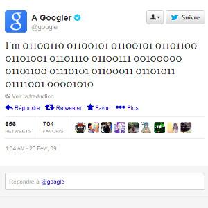 Google premier tweet