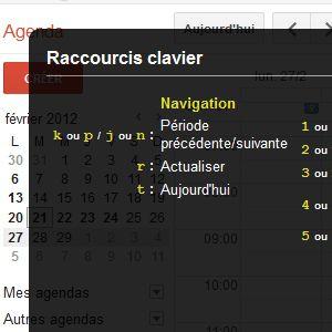 Google Agenda raccourcis clavier