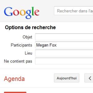 Google Agenda recherche avancée