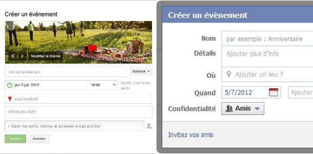Google+ VS Facebook évènements
