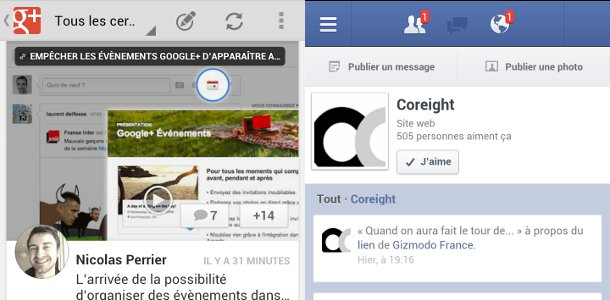 Google+ VS Facebook mobile