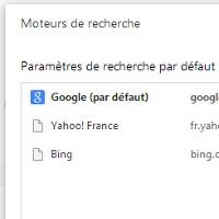 Chrome moteur de recherche