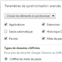 Chrome paramètres synchronisation