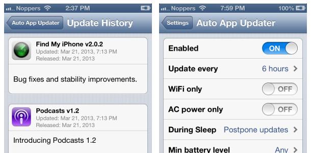 iOS 7 nouveautés mises à jour automatique