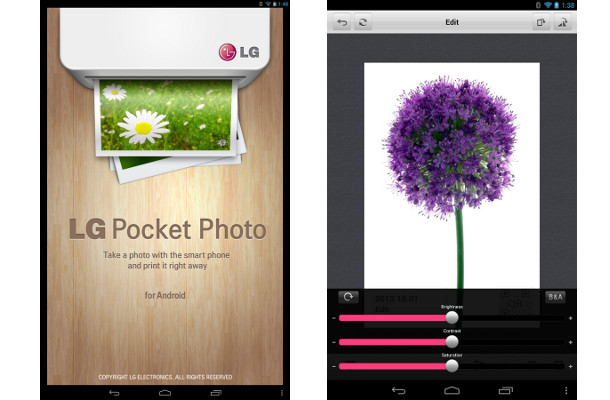 LG pocket photo application