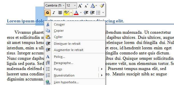 Microsoft Word mise en forme