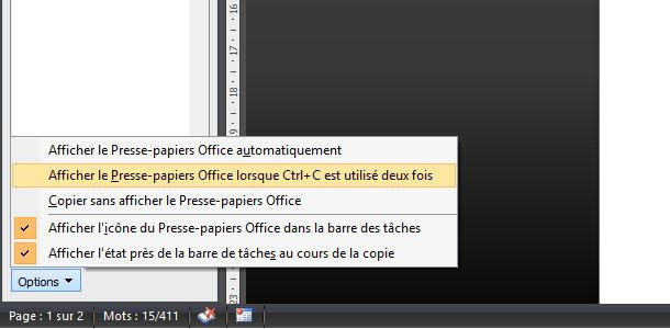 Microsoft Word presse-papiers