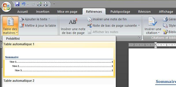 Microsoft Word table des matières