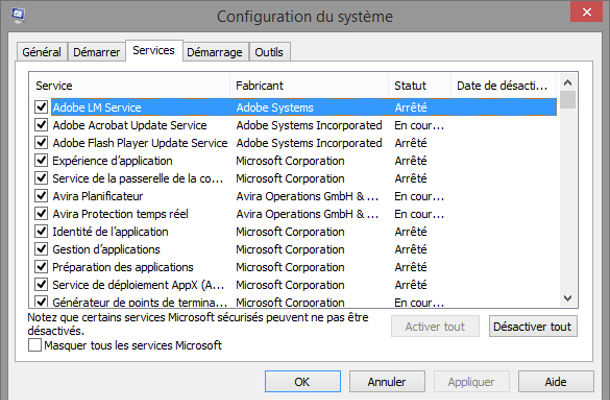 Outil Windows configuration du système