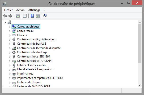 Outil Windows gestionnaire de périphérique