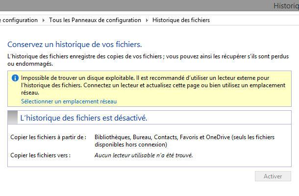 Outil Windows historique des fichiers