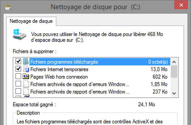 Outils Windows nettoyage de disques