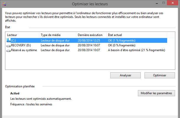 Outils Windows optimisation lecteurs défragmentation