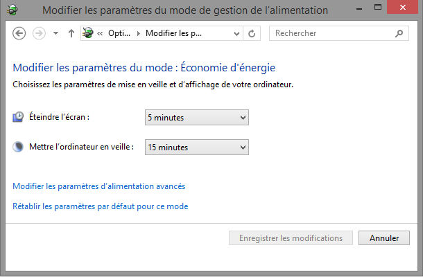 Outils Windows options alimentation
