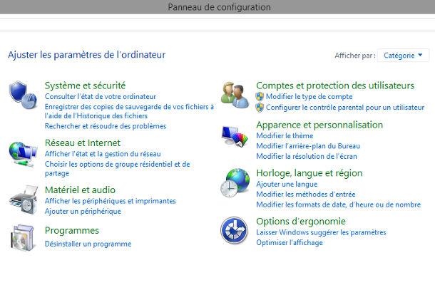 Outils Windows panneau de configuration