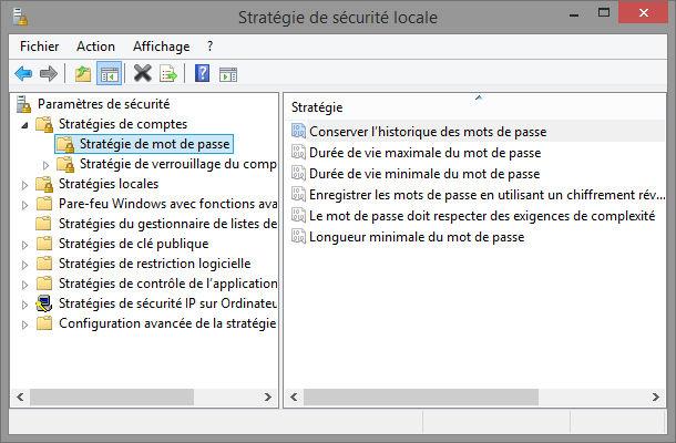 Outils Windows stratégie de sécurité locale