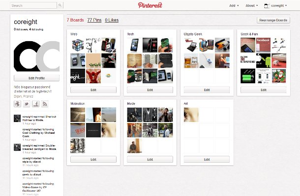 Pinterest coreight boards