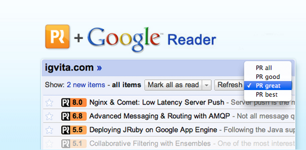 PostRank Google Reader