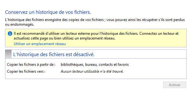 Outil d'historique des fichiers Windows 8