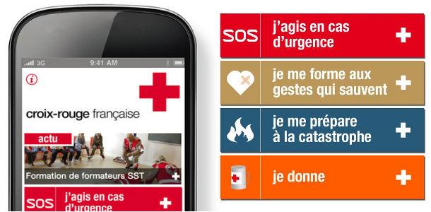 Smartphone sécurité croix rouge