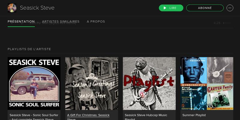 Spotify - pages de nos artistes préférés