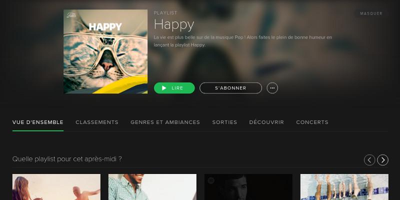 Spotify - menu Parcourir