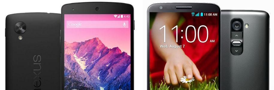 Nexus 5 VS LG G2, le grand match