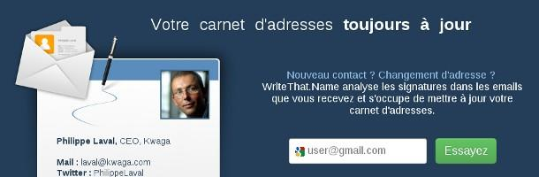 WriteThat.Name tient à jour automatiquement ton carnet d'adresse