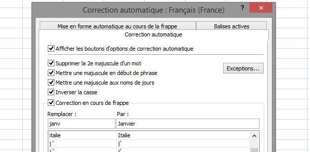 tableur Excel autocorrection