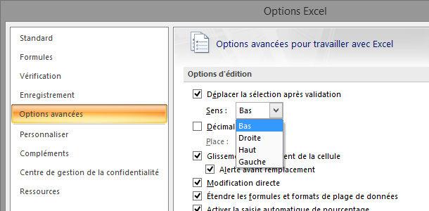 Tableur Excel déplacement pointeur