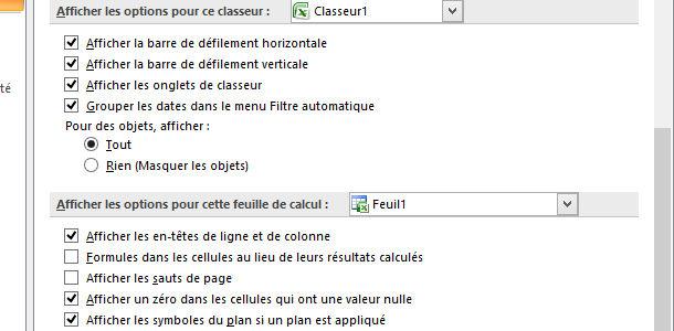 Tableur Excel options classeur feuilles