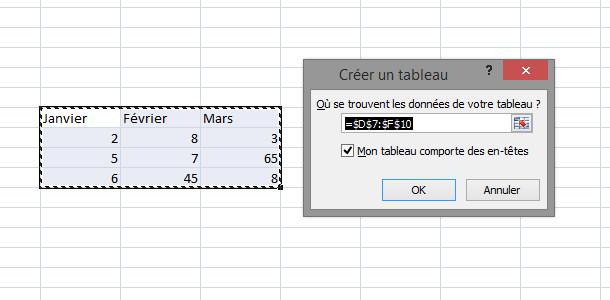 Tableur Excel tableau