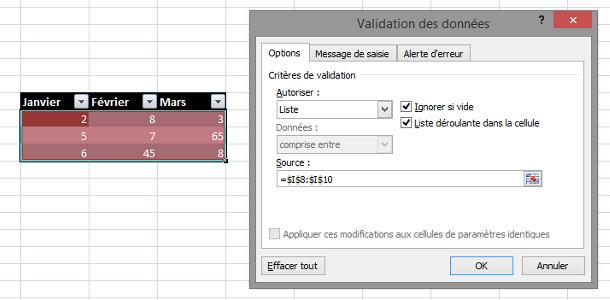 Tableur Excel validation des données