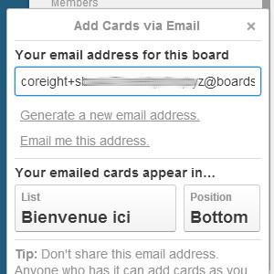 Trello créer des cartes par email