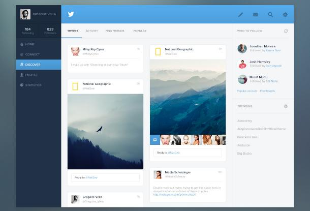 Twitter redesign par Grégoire Vella