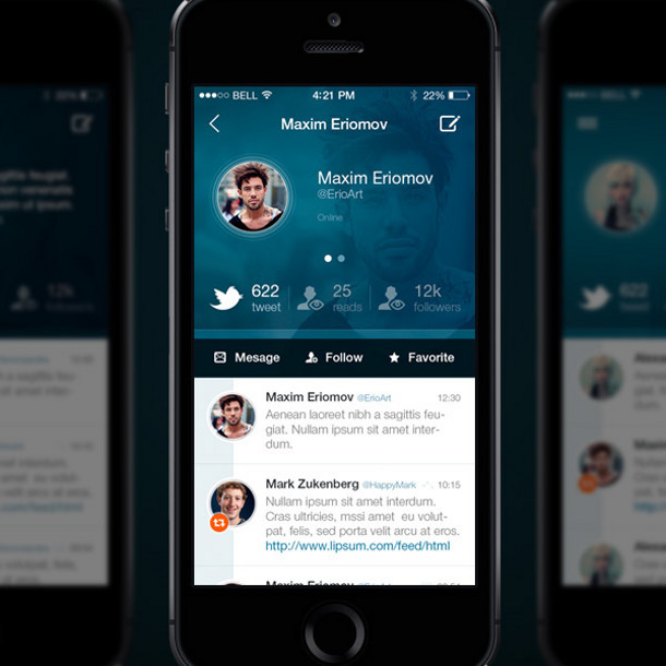 Twitter redesign par Maxim Eriomov