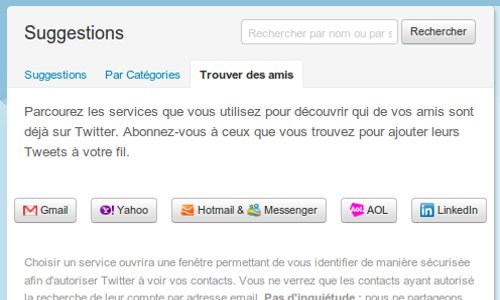 Twitter trouver amis