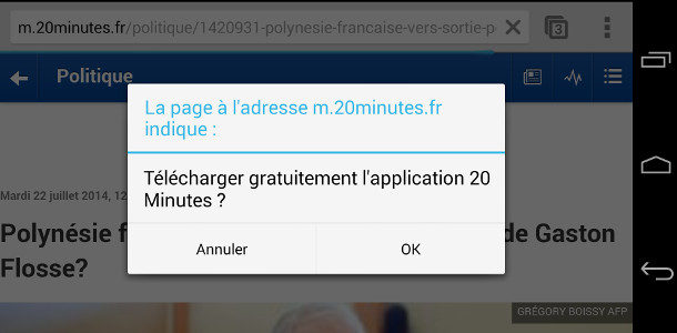 Popup téléchargement application mobile
