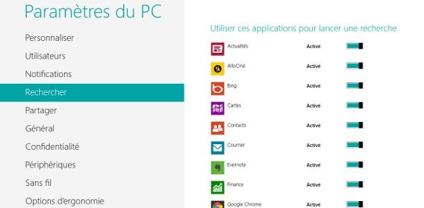 Windows 8 recherche